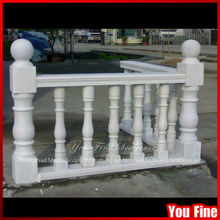Outdoor White Stone Baluster Railing