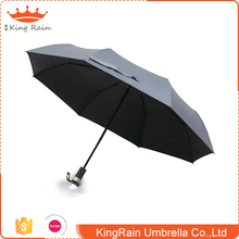Hot sale LED light plastic handle auto 3 folding rain umbrella with logo