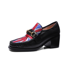 hot style office school student gorgeous genuine leather American flag pattern ladies oxford shoes