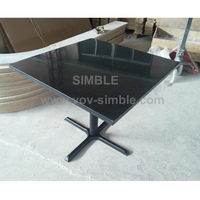 Eco-friendly black acrylic solid surface table, artificial marble dining table, engineered stone table
