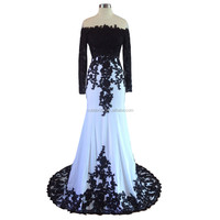 Long Sleeves Black And White Evening Gowns 2016 Mermaid Evening Dresses