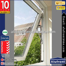 European looking aluminum awning windows and doors, top hung glass aluminium window