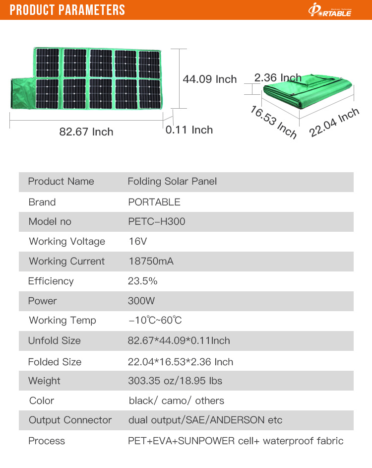 solar panel 48v 300w for car battery and outdoor camping