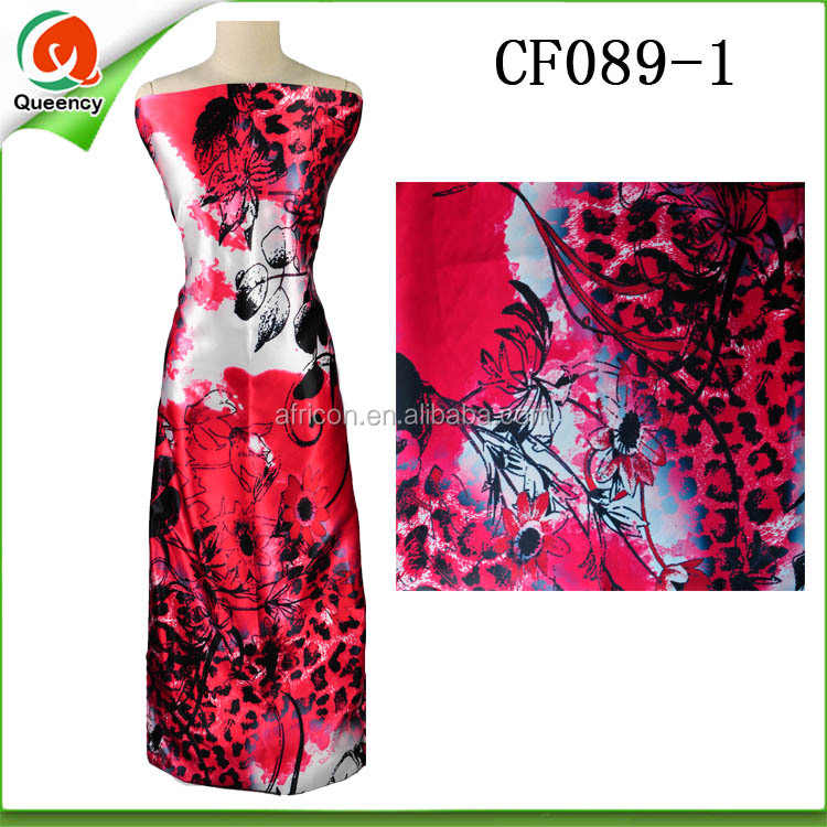 CF089 Queency Alibaba Wholesale Indian Printed Multicolor Silk Chiffon Dress Fabrics