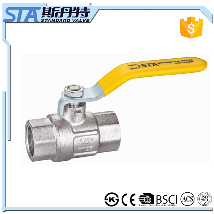 ART.1046 Zhejiang manufacturer forged double female original brass color natural ball valve female for gas with yellow handle
