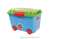 Kids toy box plastic toy organizer with wheel