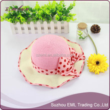 The new bowknot beach summer hat Parent-child straw hat