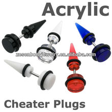 Different color acrylic custom cheater plugs fake ear taper body piercing jewelry