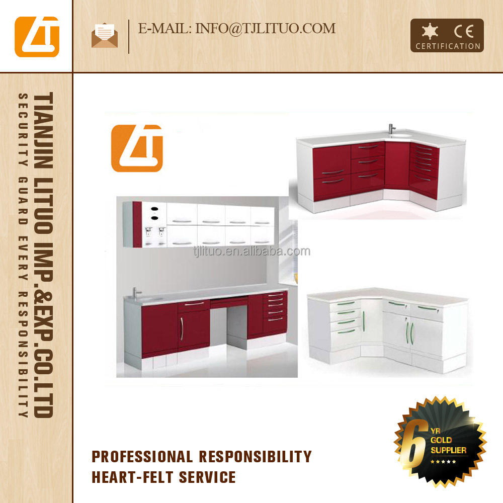 China dental instrument L shape or I shape many drawers clinic furniture Dental cabinet for sale