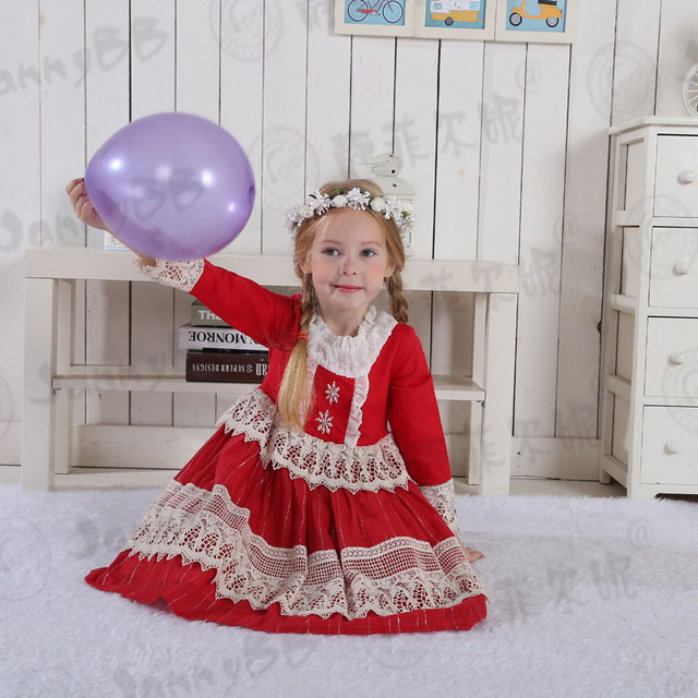 vintage baby clothing red snowflake embroidery boutique christmas dresses