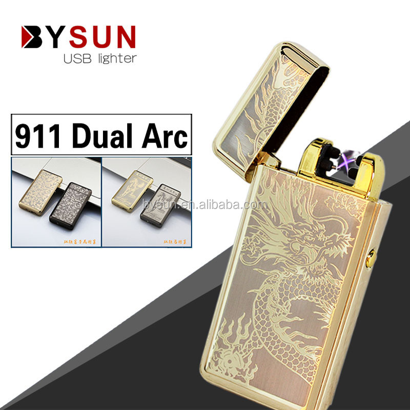 BS-911 PVD pattern usb rechargeable lighter double arc windproof metal double arc lighter
