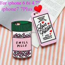 For iphone 6 Case love potion chill pills 3D Cartoon Soft Silicone Case Cover For iphone SE 5 5s 6 6s 6/6s Plus 7 7Plus