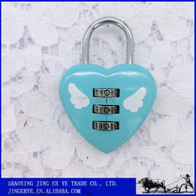 Cute love heart shape combination luggage zinc alloy lock