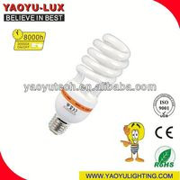 Pure Tri-colour energy saver 6500k daylight spiral cfl lamp Made In China