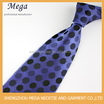 Chinese Providers Blue Dots Polyester Woven Necktie Professional Suppliers