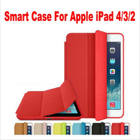 1:1 Official Original Smart Case Ultra thin Book Stand Cover Flip Leather Case For iPad 2 3 4 for Apple LOGO