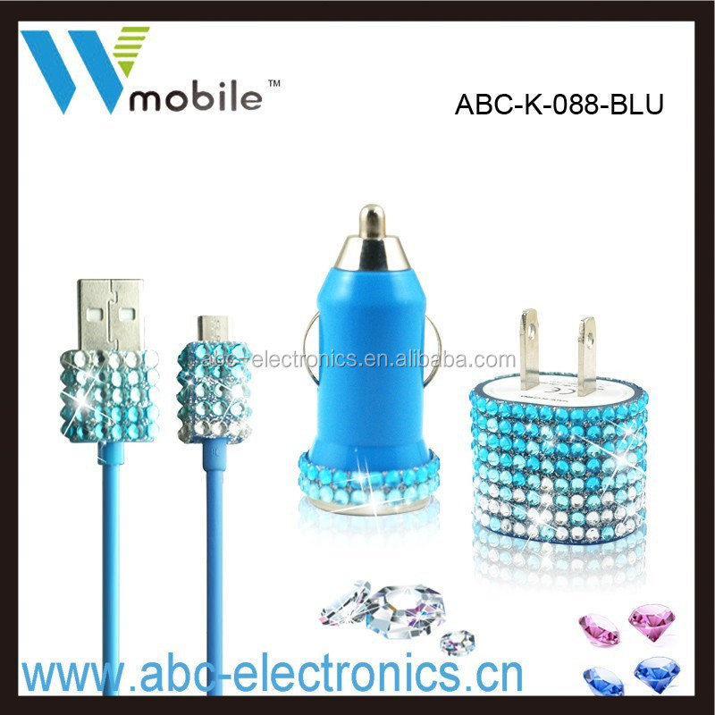 3PCS bling blue wall charger kit come with bling wall/car charger,charging cable for iphones
