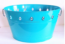 2017 Hot-Sale Oval Galvanized steel Christmas Ice Bucket/Party Tub/Xmas Ice Cooler with Beads