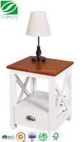 SH White wood furniture bedside table