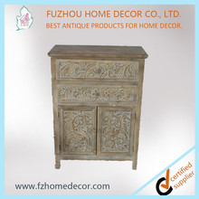 Wood cabinet furniture design for living room with colorful carved decor