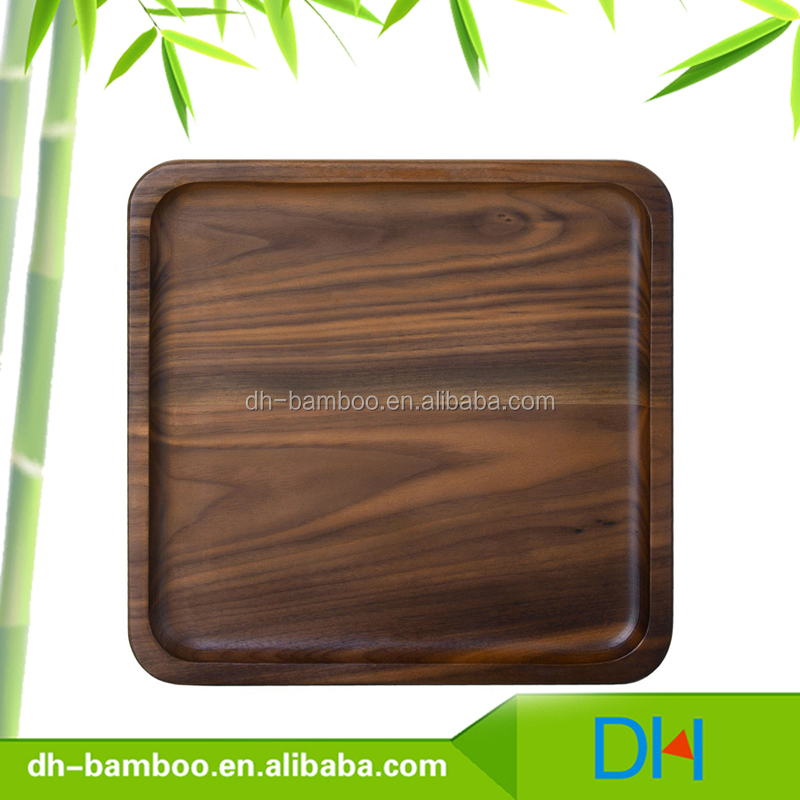 Eco-friendly Black Walnut lumber wood Plate, Wooden Square Shape Serving Tray/Dishes