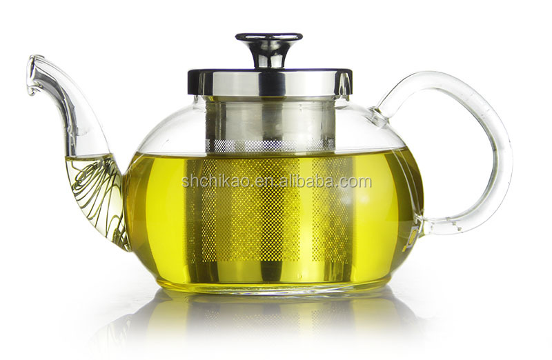 clear glass teapot with stainless steel filter