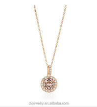 Rose Gold Plated Sterling Silver Pink Crystal Morganite Halo Pendant Necklace