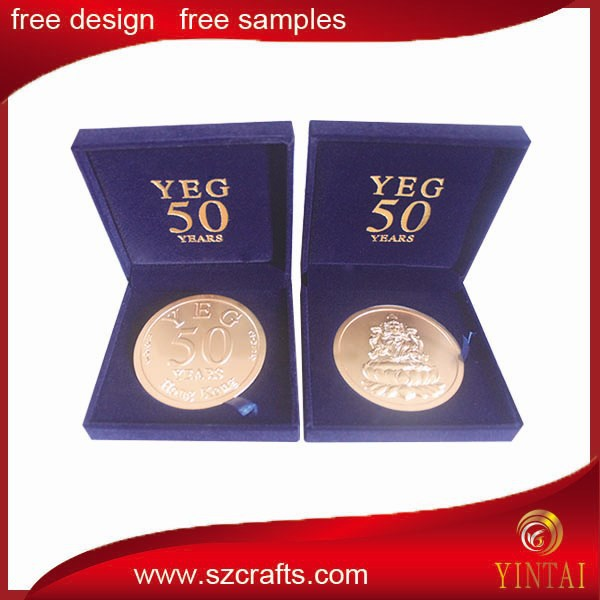 Yintai S-001 model fascinating embossed logo with customer's own logo box large medal