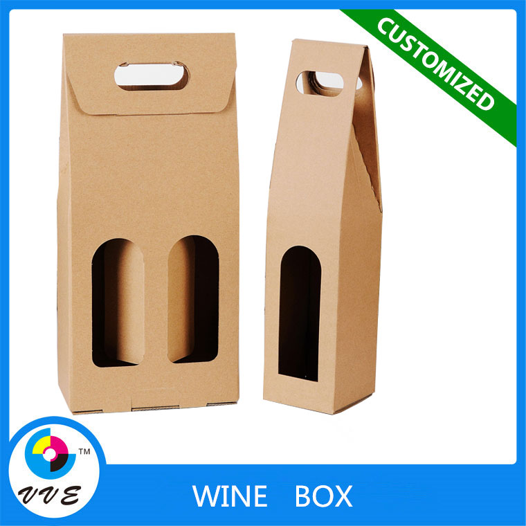 High quality cheap price kraft paper single/ double bottle wine carrier box