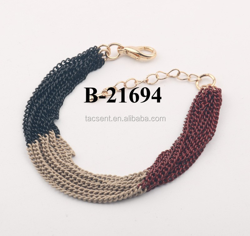 5 DOZENS LOWER MOQ handmade bracelet jewelry, imitation gold plating chains jewelry, artificial bulk jewelry chain bracelet