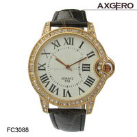 2015 New fashion wrap bracelet watch crystal leather women wrist quartz watches dress lady watch