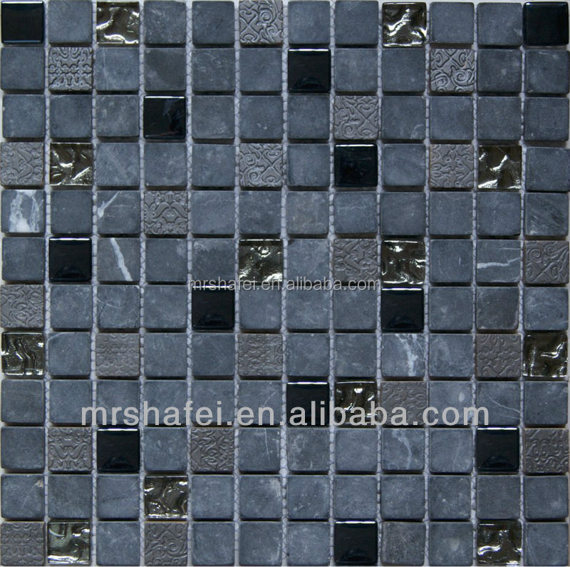 stone carvings mosaic with metal and silver foil for wall decoration