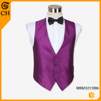 New latest design cheap purple mens waiter work polyester waistcoats uk