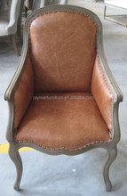 Antique wood upholstered leather living room chair