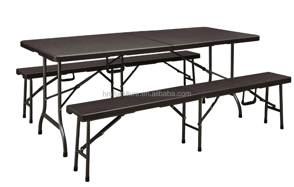 6ft plastic catering folding table and bench set