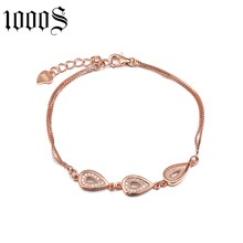 fashion style rhodium plating silver bracelet with size 15.5cm