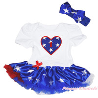 1ST Birthday 4th July Patriotic Star Heart Bodysuit Girl Baby Dress Shoes NB-12M