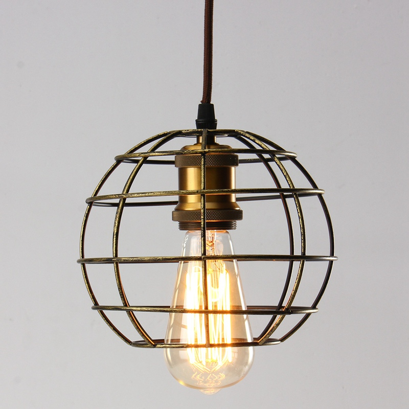 New edison iron vintage ancient hanging ceiling lamp bulb light fitting guard wire cage cafe lampshade lamp cover 155x185mm