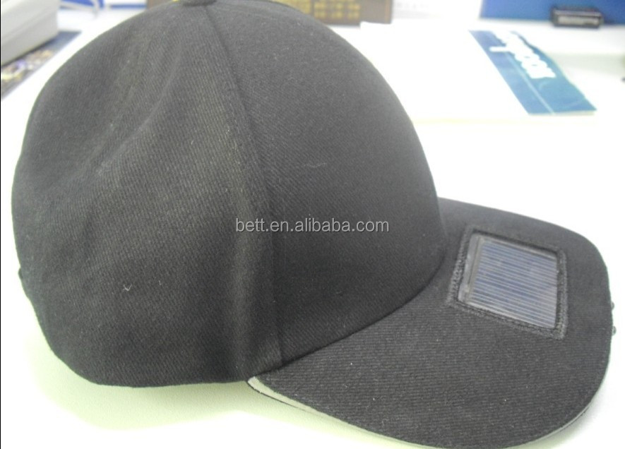 cotton led light baseball cap with solar panel