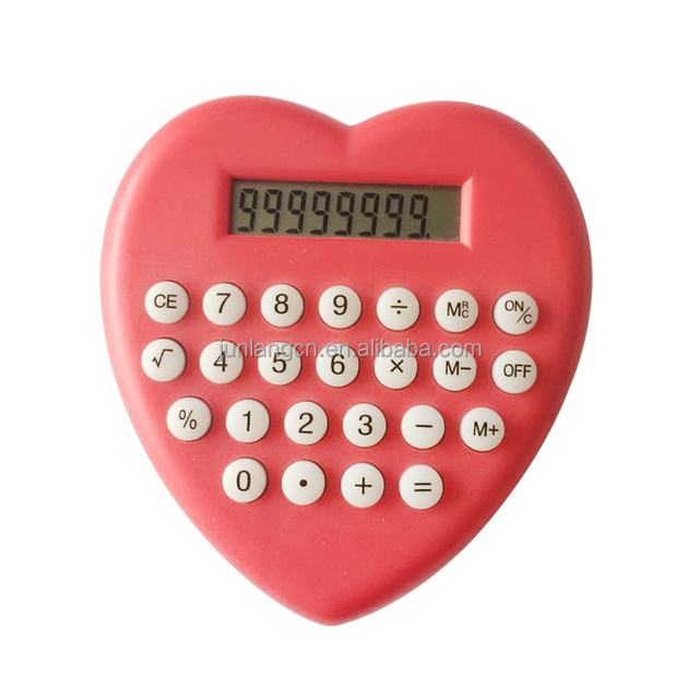 Heart Shaped Colorful Portable Calculator Promotional Gifts Calculator