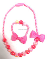 Cute Baby Girls Fashion Jewelry 2 in 1 Set Bow Beaded Necklace and Elastic Bracelet
