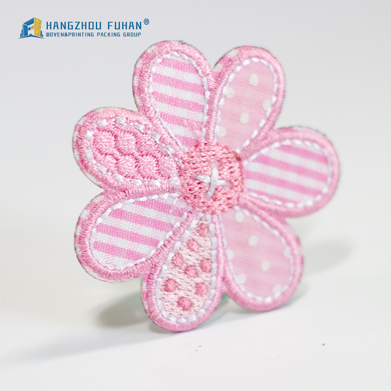 Pink Flower Embroidery Patch for Children's Wear