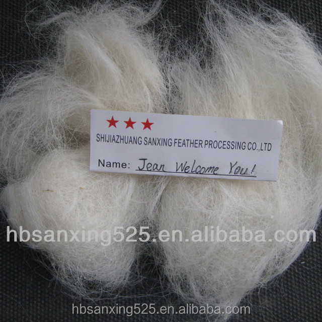 100% goat hair, 27-45MIC, 55-85MM, natural white color, low price