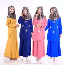 new design chiffon muslim dress /yimy 4 color top and skirt set middle eastabaya kaftan / islamic Arabian dress