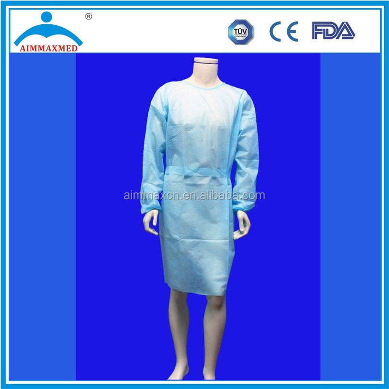 Spunbond Wraparound Blue Isolation Gowns Protection from dirt dust and grime