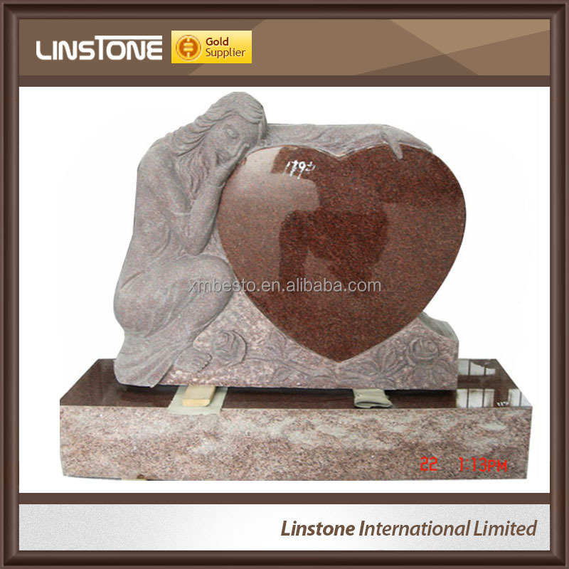 European Heart Tombstone With Angel