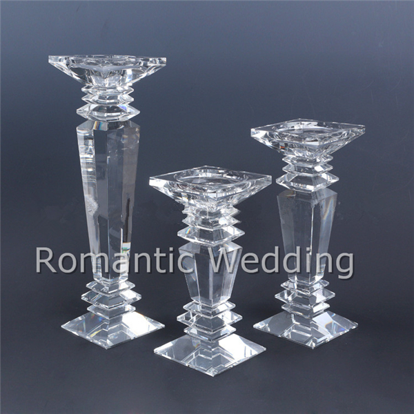 Gorgeous Crystal Pillar Tall Candle Holders Crystal Candlesticks for wedding