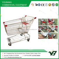 Hot sell cheap 210 liter chrome Asian type supermarket push cart / supermarket trolley with coin lock