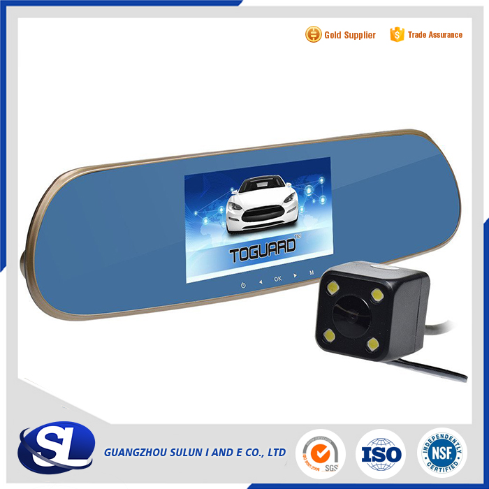 Intelligent Dual Lens GPS Tracker Radar Detector Rearview Mirror Auto DVR Recorder with bluetooth