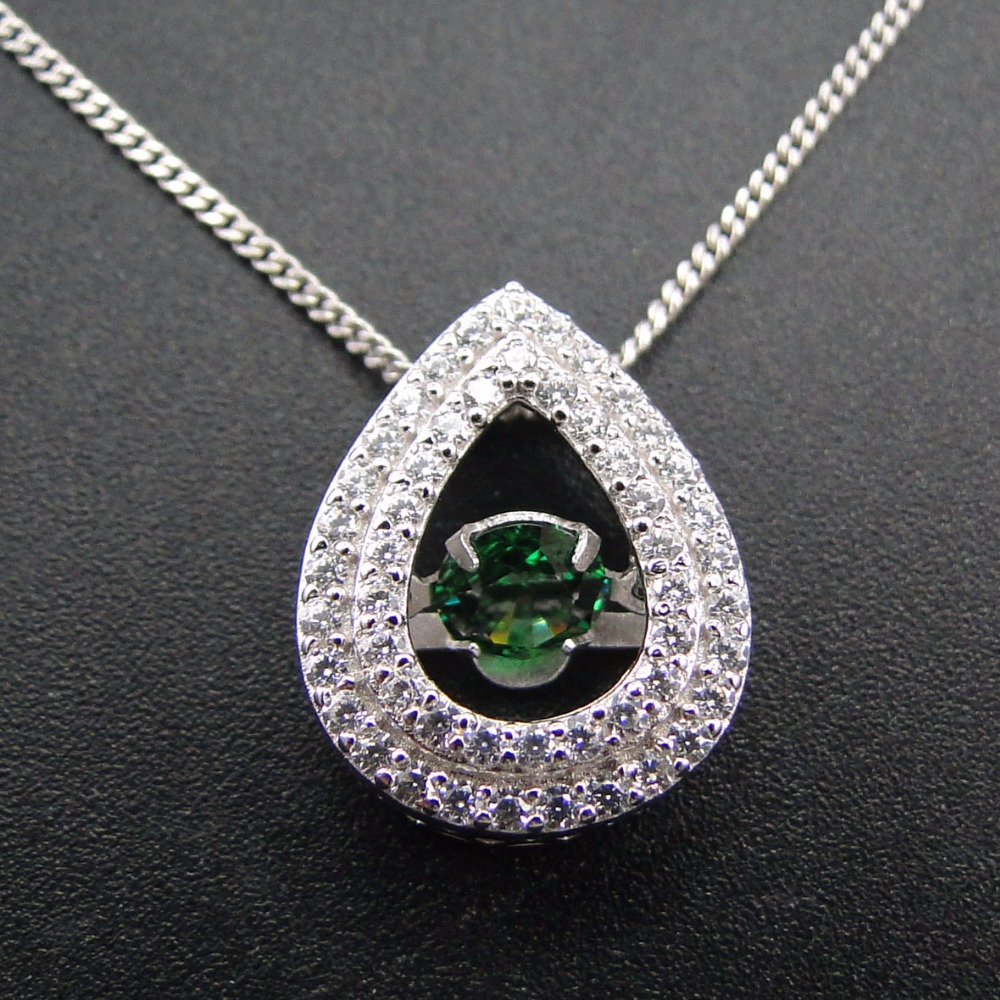 High Quality Mexican 925 Sterling Silver Emerald Cz Charms Pendants For Women Dancing Diamond Pendants Jewelry DR032474P-3.2g